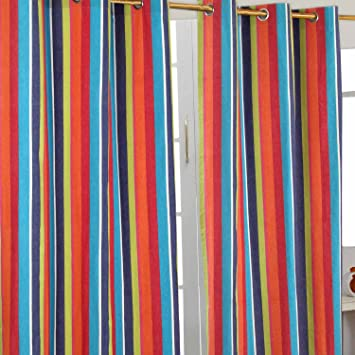 Homescapes Pair of 100% Cotton Ready Made Curtains - Multi Stripes ...