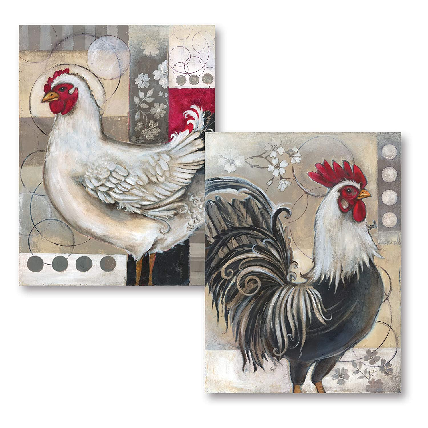 Gango Editions 2 Popular Retro Rooster and Chicken Set; Kitchen Decor; Two 12x16in Poster Prints. Red/Black/White/Grey