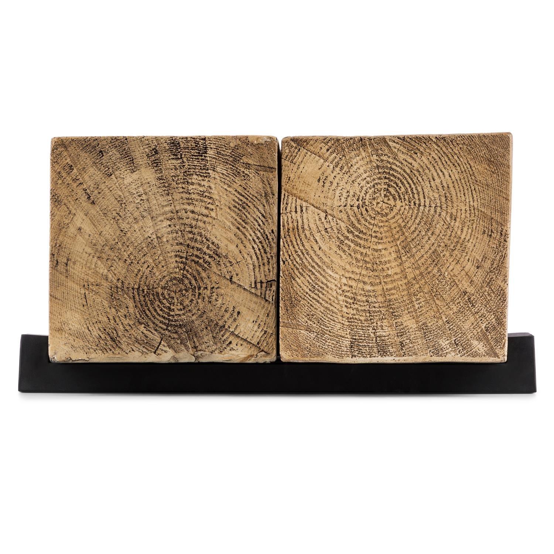 Blumfeldt Blockhouse Lounge Mesa de viga • Dimensiones 120x30x60 cm • Para interior y exterior • 2 macizos ortoedros de madera • Cemento inmine a intemperie ...