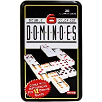 Jonquin Double 6 Colour Dot Dominoes Set with Metal Tin Case (Multicolour)- Pack of 28