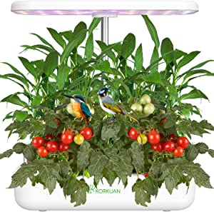 Hydroponics Growing System, 12 Pods Indoor Herb Garden Starter Kit with Adjustable LED Grow Light, Height Adjustable Smart Garden Planter for Home Kitchen Gifts White