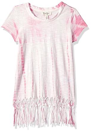 82395d23cfe0 Jessica Simpson Big Girls' Nova Tie Dye S/S Fringe Tee Grl, Sachet ...