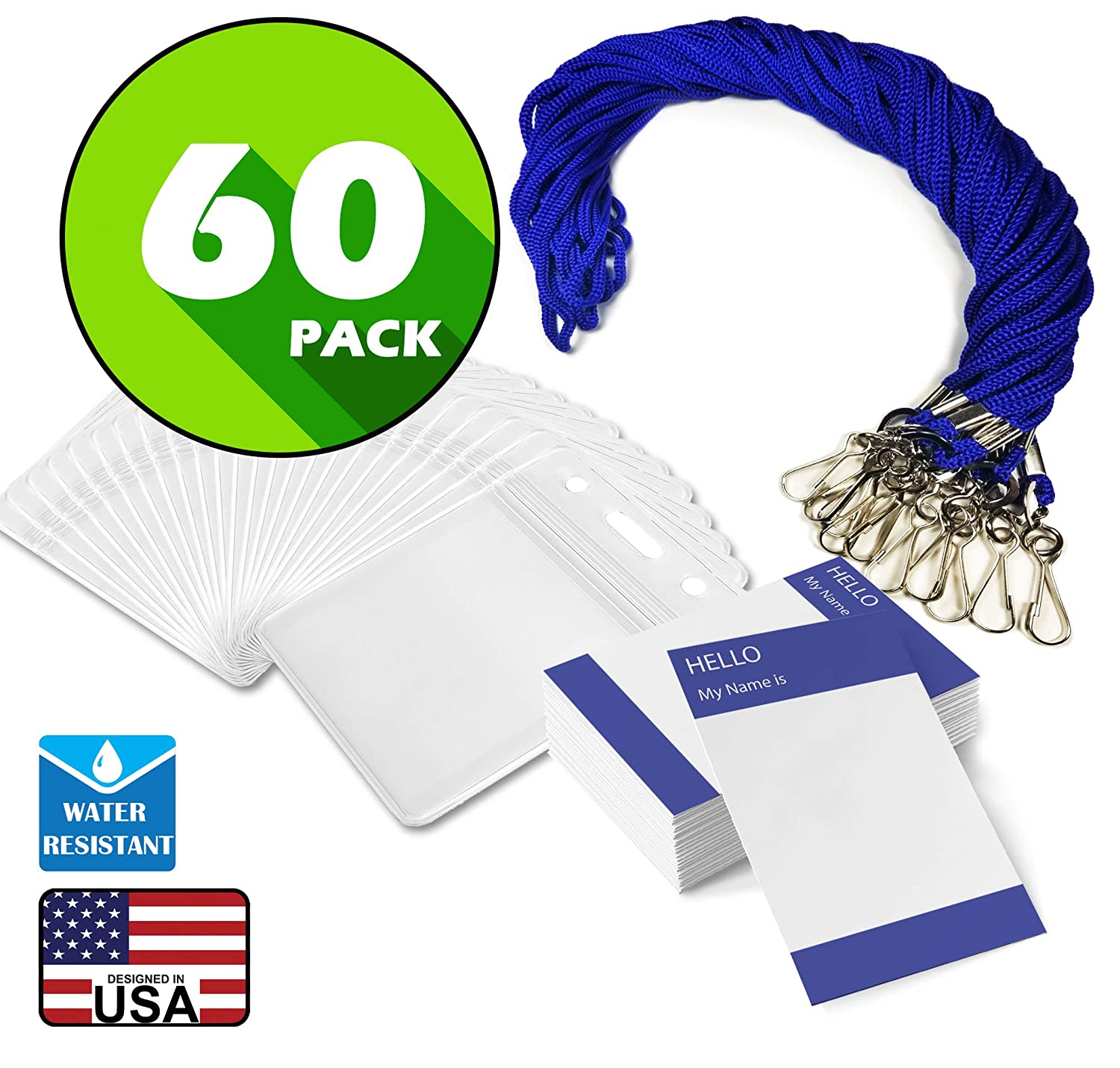Waterproof Name tag with Lanyard Swivel J-Hook Clip Kids Name Label School Camp Field Trip Church Business Event Trade Show Conference Badge Holder Royal Blue Horizontal, 60 Pack