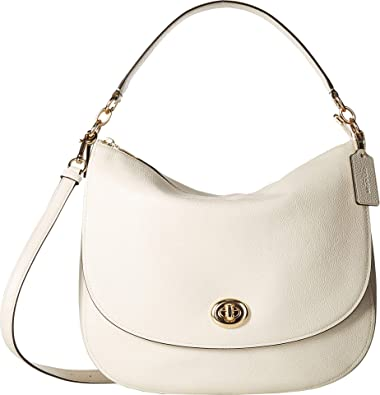 5ac6696f10 Amazon.com: COACH Women's Polished Pebble Updated Turnlock Hobo Gold/Chalk  One Size: Shoes