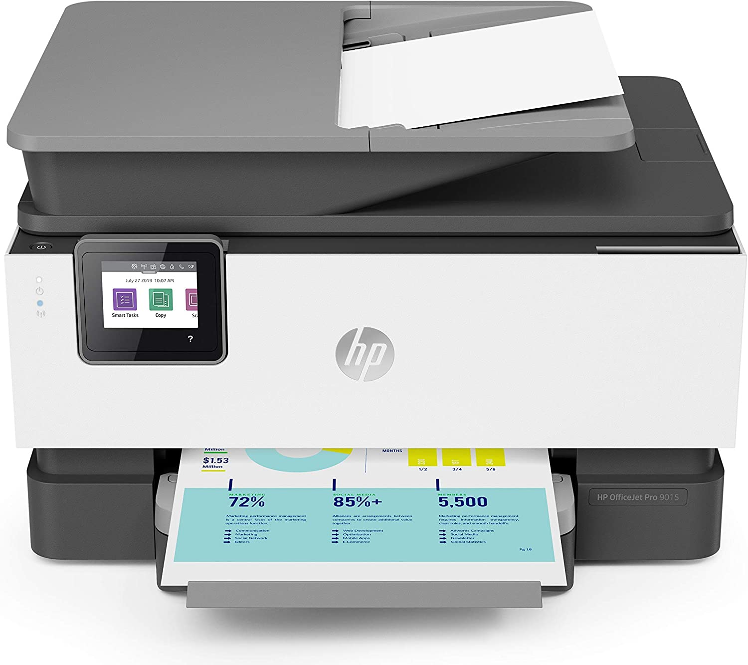HP OfficeJet Pro 9015 All-in-One Wireless Printer, with Smart Tasks for Smart Office Productivity & Never Run Out of Ink with HP Instant Ink (1KR42A) (Renewed)