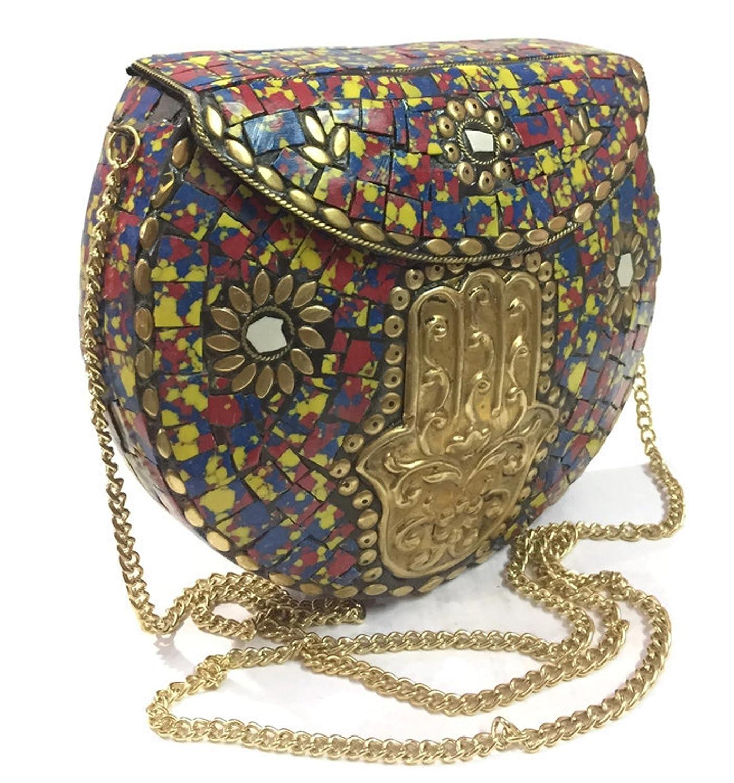 Regalo /étnico para las mujeres ni/ñas Metal Bags Mosaic Clutch en venta tribanda /étnica Cartera vintage boho indio embrague