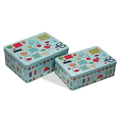 Versa 10390176 Set de 2 Cajas Metal Costura Verde