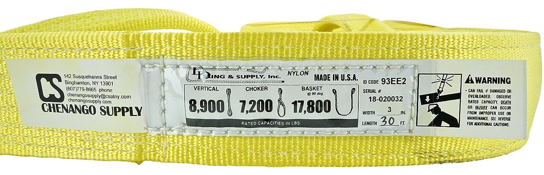 Nylon Lifting Slings aC49-NSTE2X06 6,400 lbs Vertical 900 webbing Heavy Duty in Listing Eye /& Eye Chenango Supply Co Inc 12,800 Basket Load Capacity 4 to 20 lengths 2 Ply Twisted Eye 2inX6ft 2 wide X 5,100 Choker USA Made DD Sling