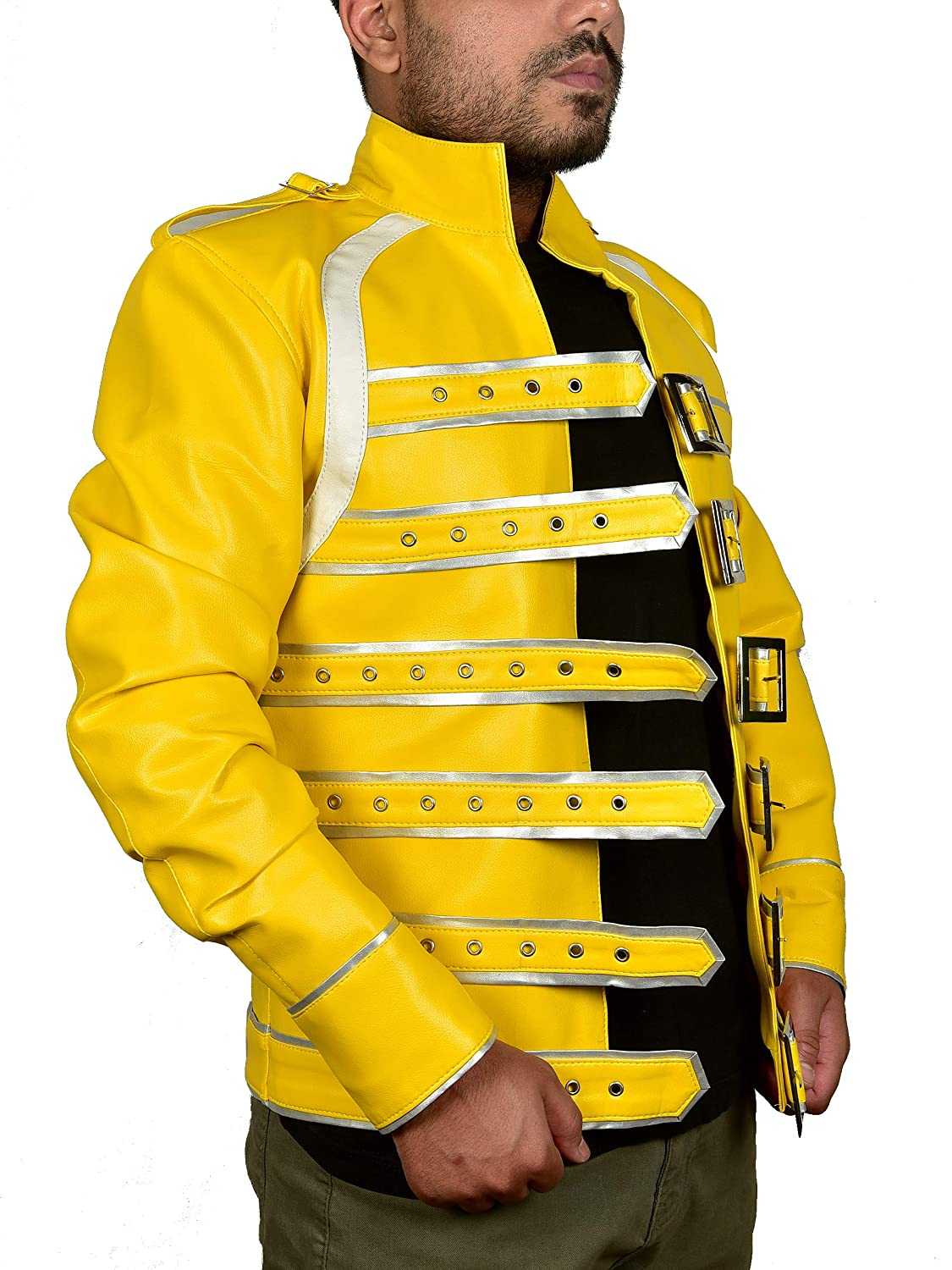 Attire Trends Mens Yellow Leather Jacket Wembley Concert Rockstar Belted Faux Leather Jacket Cosplay Costume