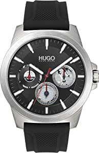 HUGO by Hugo Boss Men's #TWIST Stainless Steel Quartz Watch with Silicone Strap, Black, 22 (Model: 1530129)