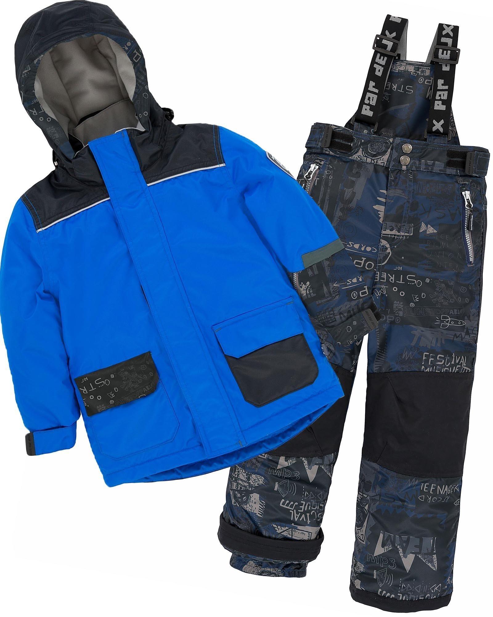 Deux par Deux Boys' 2-Piece Snowsuit Hey Mr Dj Blue, Sizes 4-14 - 12