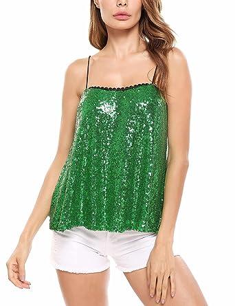 ELESOL Women s Sparkle   Shine Glitter Sequin Embellished Sleeveless Tank  Top ...