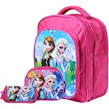 Best Shop Fabric 12Ltrs Pink School Bag,Sling Bag And Pencil Flap Pouch Set