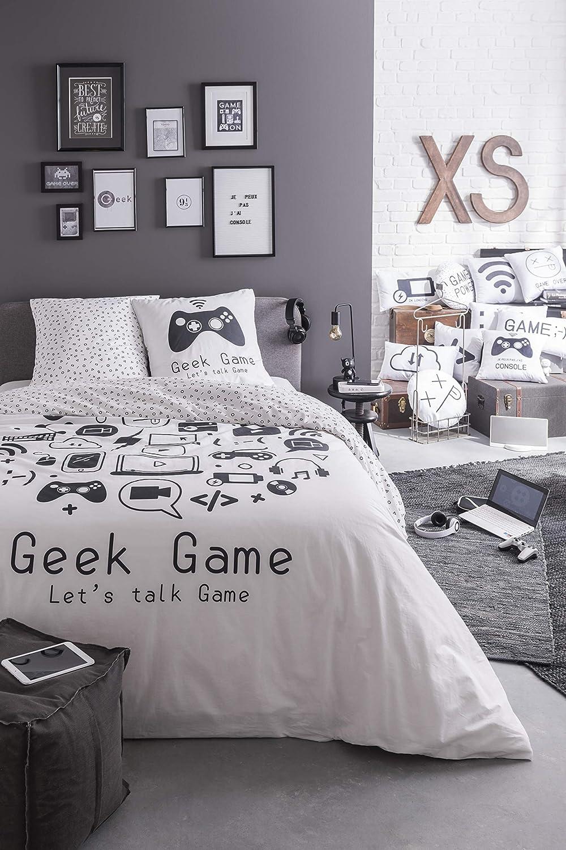 TODAY Juego de Ropa de Cama para Adolescentes, Funda nórdica de 220 x 240 cm y 2 Fundas de Almohada de 63 x 63 cm, 100% algodón de 57 Hilos, diseño de Geek Game: Amazon.es: Hogar