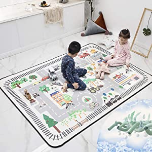 ARTBECK Kids Playmat Baby Educational Area Rug Baby Foam Playmat Extra Large Mat Soft Cooling Fabric Activity Rug Non-Slip Learning Carpet for Kids, Infants, Toddler (4.8 x 6.4 FT, Playmat A - Summer)