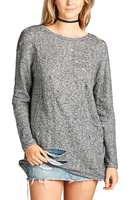 2a8dcc4b6f3 GENx Womens French Terry Distressed Loose Long Sleeves Top T2688 at Amazon  Women s Clothing store