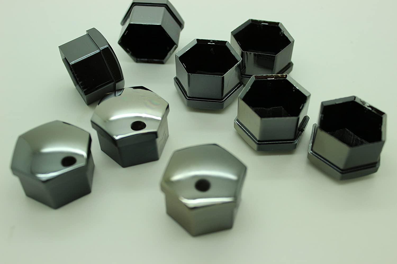 20x Universal Wheel Nut Covers Hex in Various colours comes with Removal Tools SMOKED CHROME 19mm