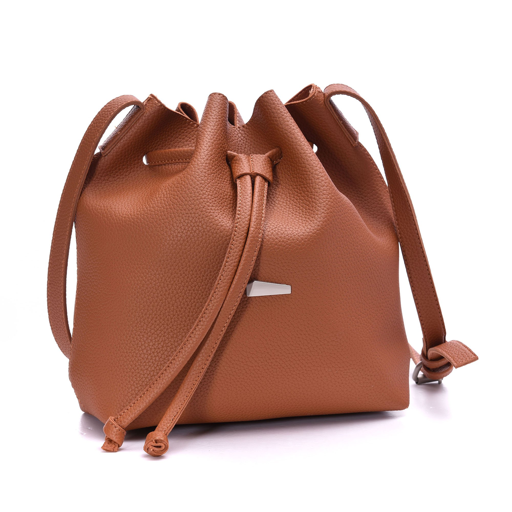 Drawstring Bucket Bags 2 Pieces Set, Artmis Women Small Cross-body Purses PU Leather (Brown)