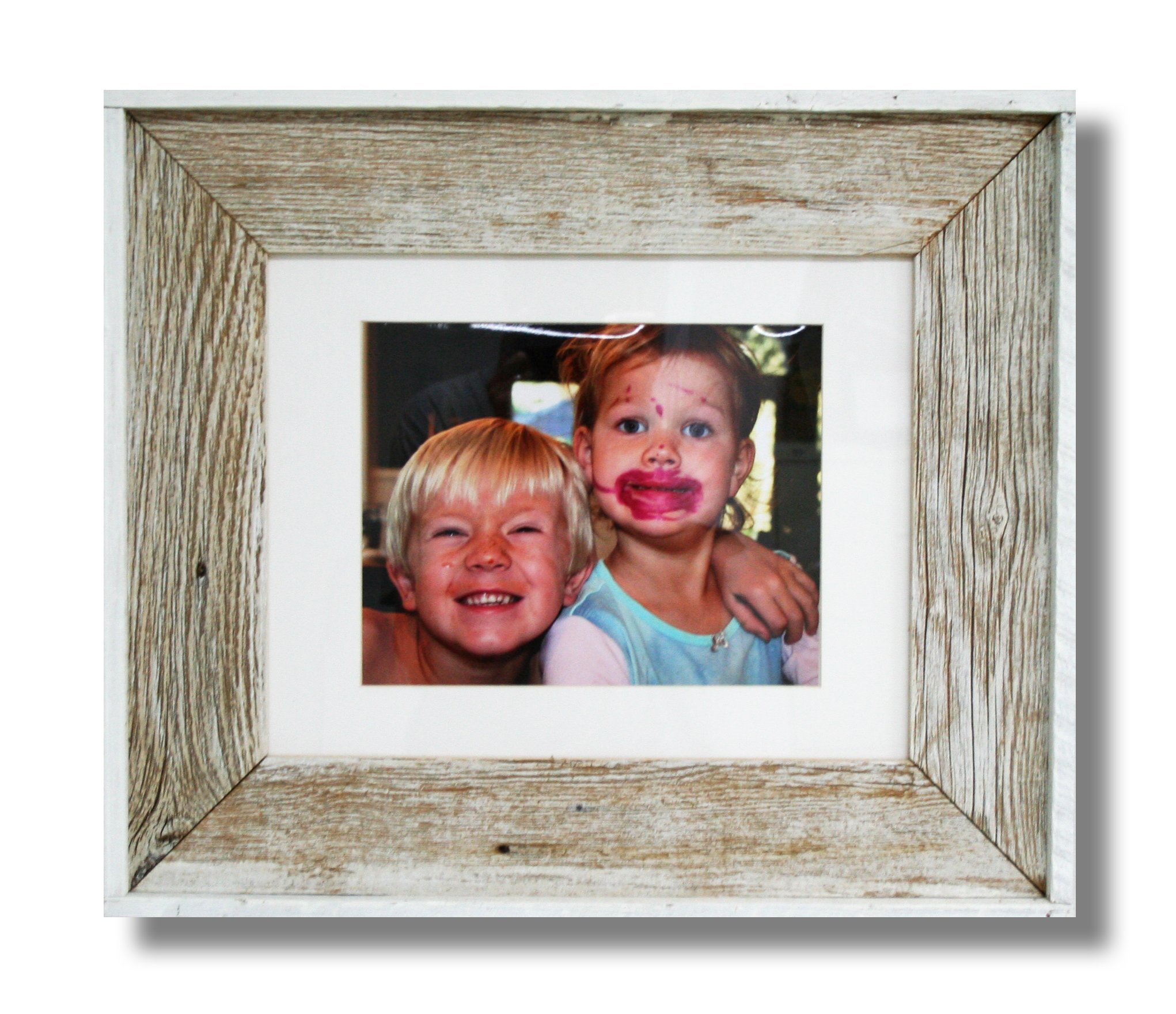 Beach Frames Reclaimed Wood Designer Frame Holds on 8'' x 10'' Photo with White matting or 11'' x 14'' unmatted Photo, 17.5'' x 20.5'', White
