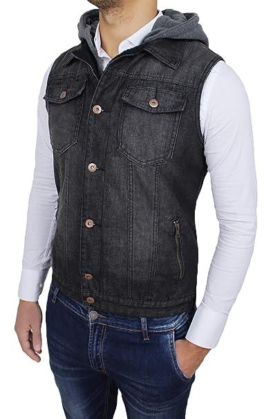 eea9845245e7 Smanicato jeans uomo nero casual denim giubbotto giacca a gilet con  cappuccio (m)
