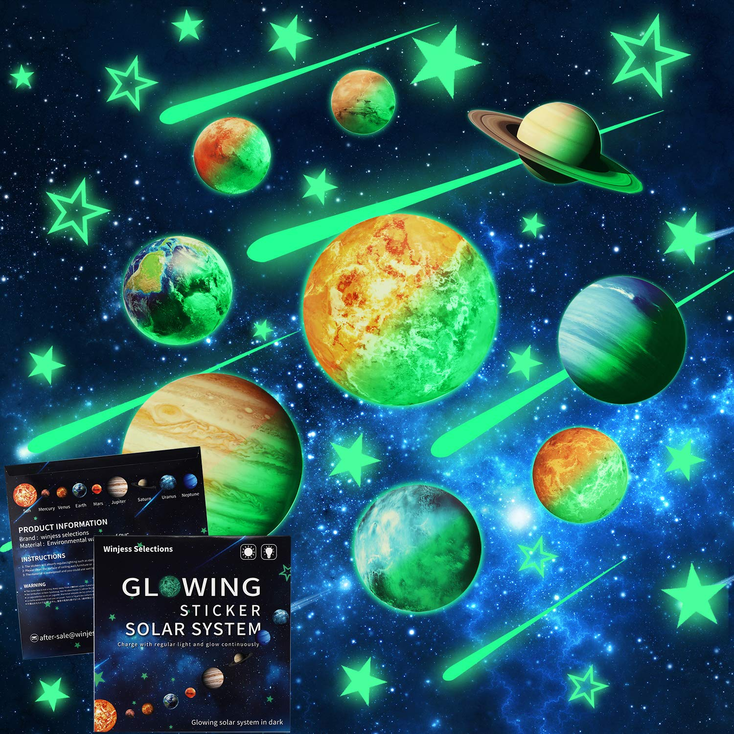WinjessSelections 48Pcs Glow in The Dark Stars, Planets Wall Stickers Adhesive Wall Ceiling Decal Set Peel Off Solar System and Stars for Kids Bedroom for Boys and Girls Room Decoration by Winjess Selections