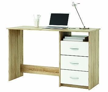 demeyere 101000 Schreibtisch, 1 Fach und 3 Schubladen, sonoma eiche ...