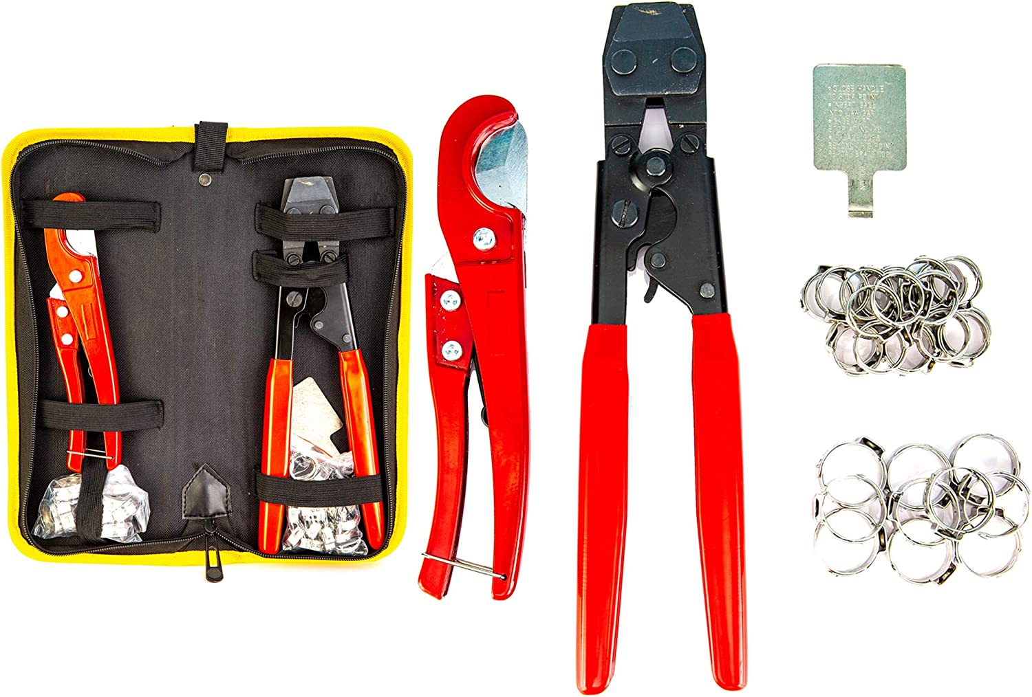 """Pex Crimping Clamp Cinch Tool and Pipe Hose Cutter Meets ASTM 2098, Pipe Fitting Tool Kit for Stainless Steel Clamps Sizes from 3/8"""" to 1"""" with 20pcs 1/2"""" and 10 pcs 3/4"""" Clamps set with Storage Bag,"""