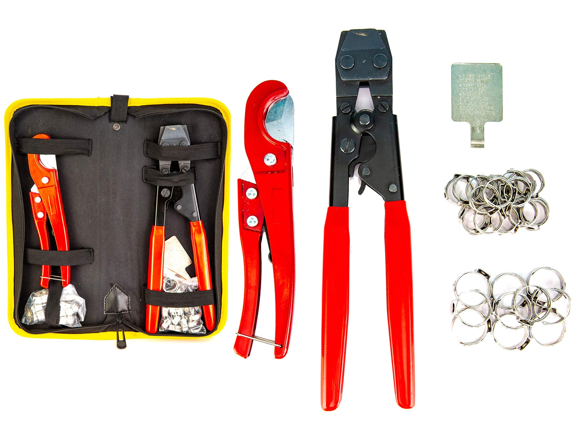 Pex Crimping Clamp Cinch Tool and Pipe Hose Cutter Meets ASTM 2098, Pipe Fitting Tool Kit for Stainless Steel Clamps Sizes from 3/8'' to 1'' with 20pcs 1/2'' and 10 pcs 3/4'' Clamps set with Storage Bag, by Fstop Labs