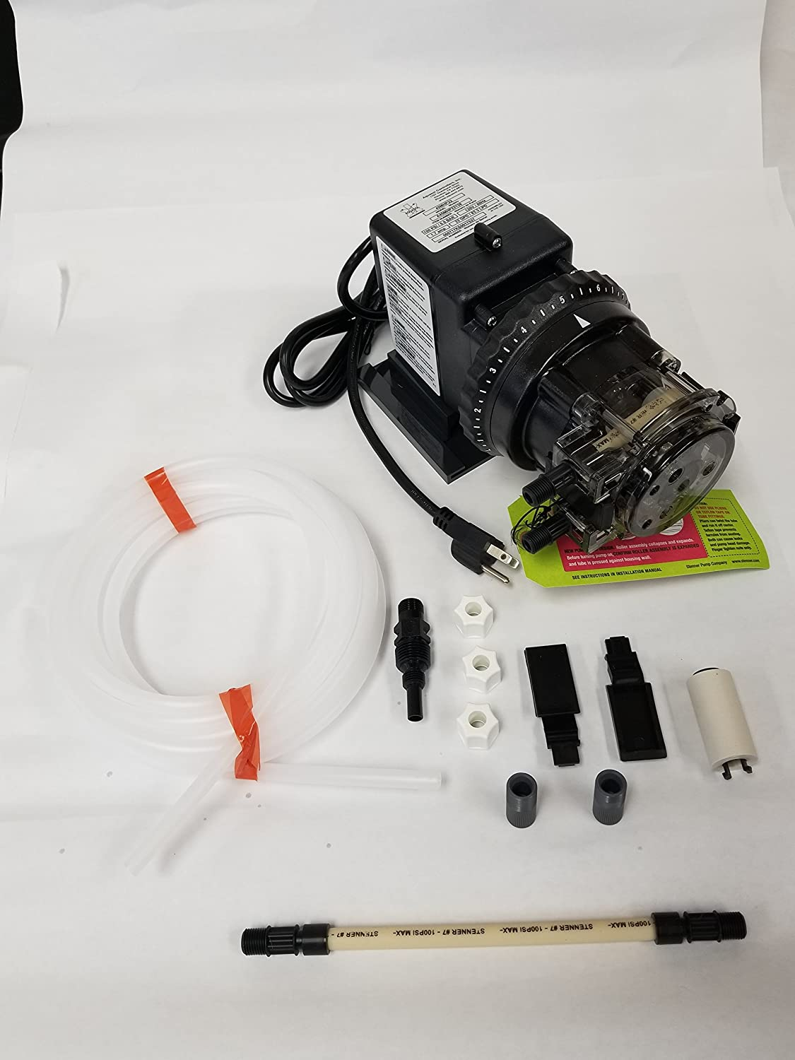 Model number 85MJL1A3S Stenner Pump 85m1 Rated at 0.3 to 5 gpd adjustable head 120 Volts Stenner Peristaltic Pump Adjustable Head Rated at 25 psi - Ideal Chlorine Injection Pump