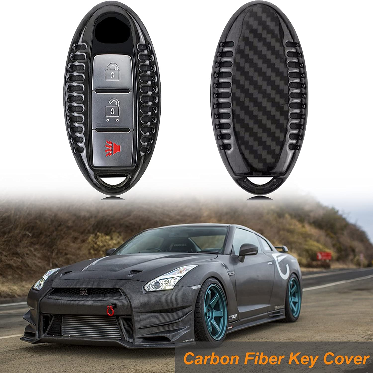 x xotic tech Real Carbon Fiber Remote Keyless Entry Key FOB Cover Case Shell for Infiniti Q50 Nissan Altima GT-R 370Z etc