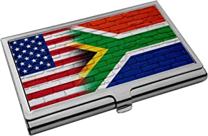 Premium Stainless Steel Business Card Holder - Flag of South Africa (African) - Bricks/USA