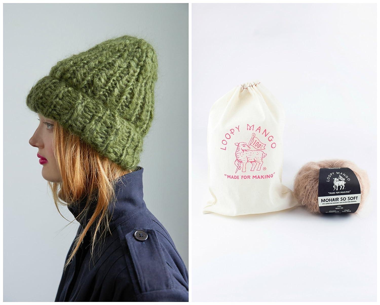 268a0221e1602 Amazon.com  Loopy Mango DIY Knit Kit - Beanie - Mohair So Soft (Dark Secret)