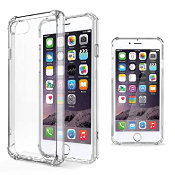 Moozy Funda Silicona Antigolpes para iPhone 6 - Transparente Crystal Clear TPU Case Cover TPU Flexible