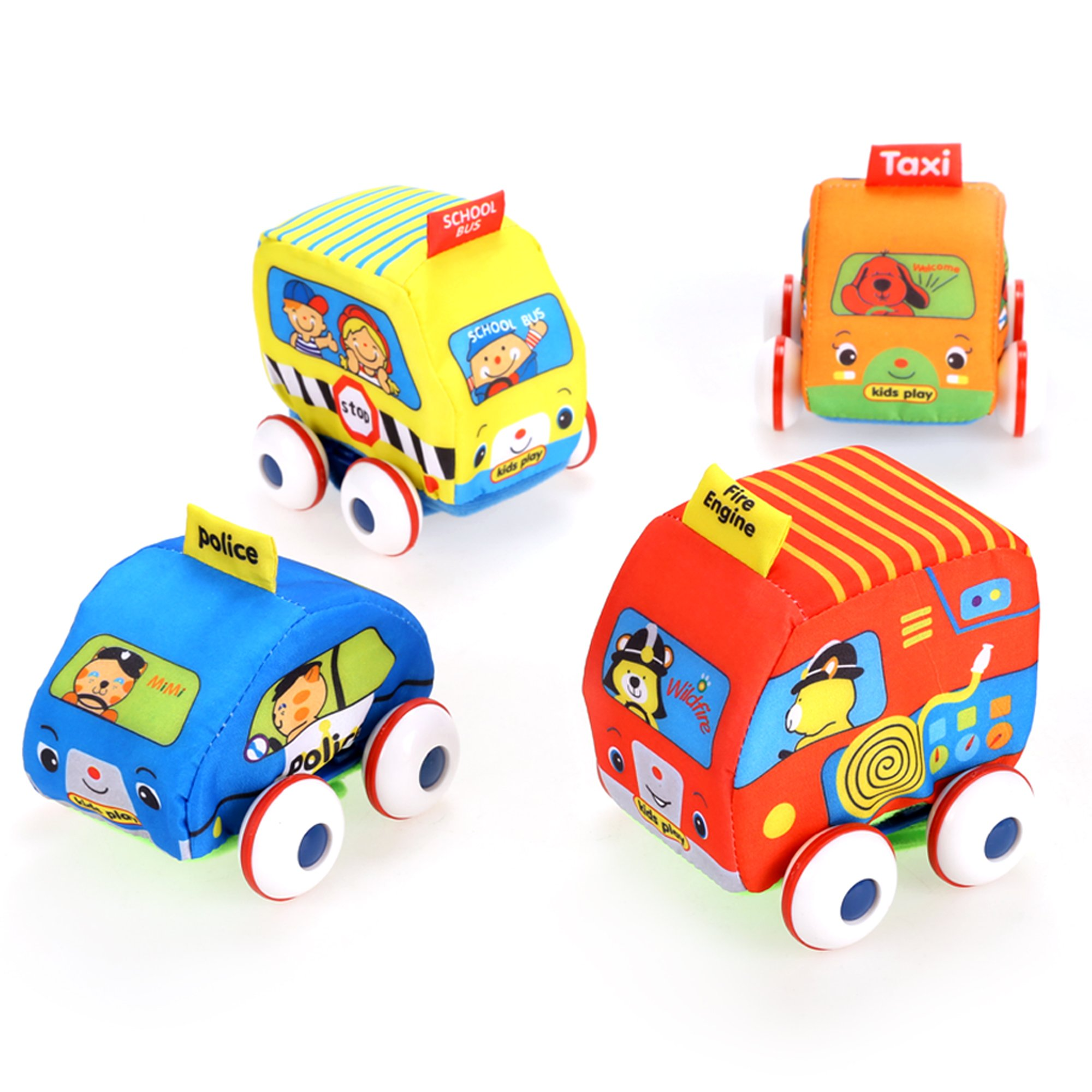 (US Stock) Pull Back Vehicle Set Baby Soft Cars Set of 4 pieces