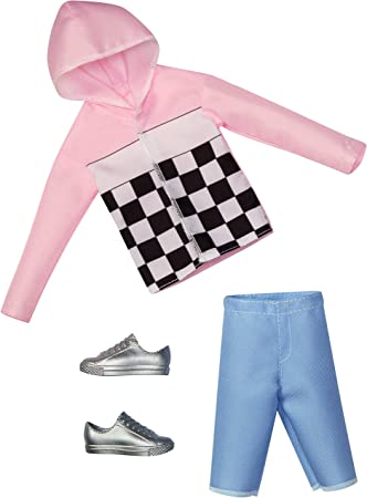 Barbie KEN Fashion Pack Clothes Pink Wind Breaker Blue Shorts Shoes Outfit Set