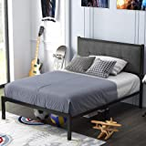 SHA CERLIN Twin Bed Frame, Platform Bed Frame with Strong Metal Slats and Upholstered Button Tufted Square Stitch…