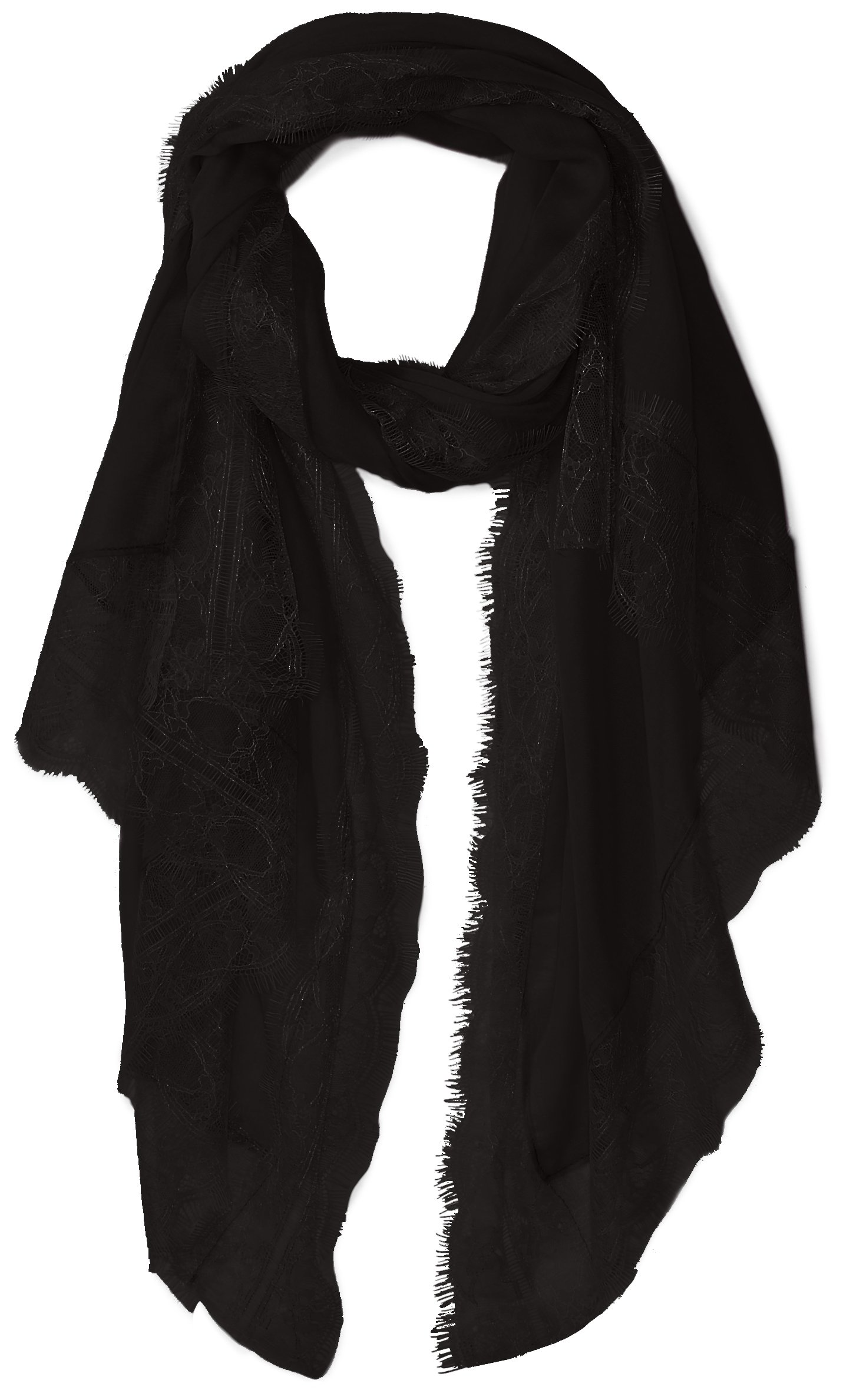 Orchid Row's Lace Trim Lightweight Travel Scarf Black