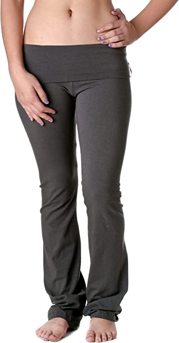 24cfe2009c6f7 Hollywood Star Fashion Women's Slimming Foldover Bootleg Flare Yoga Pants  ...