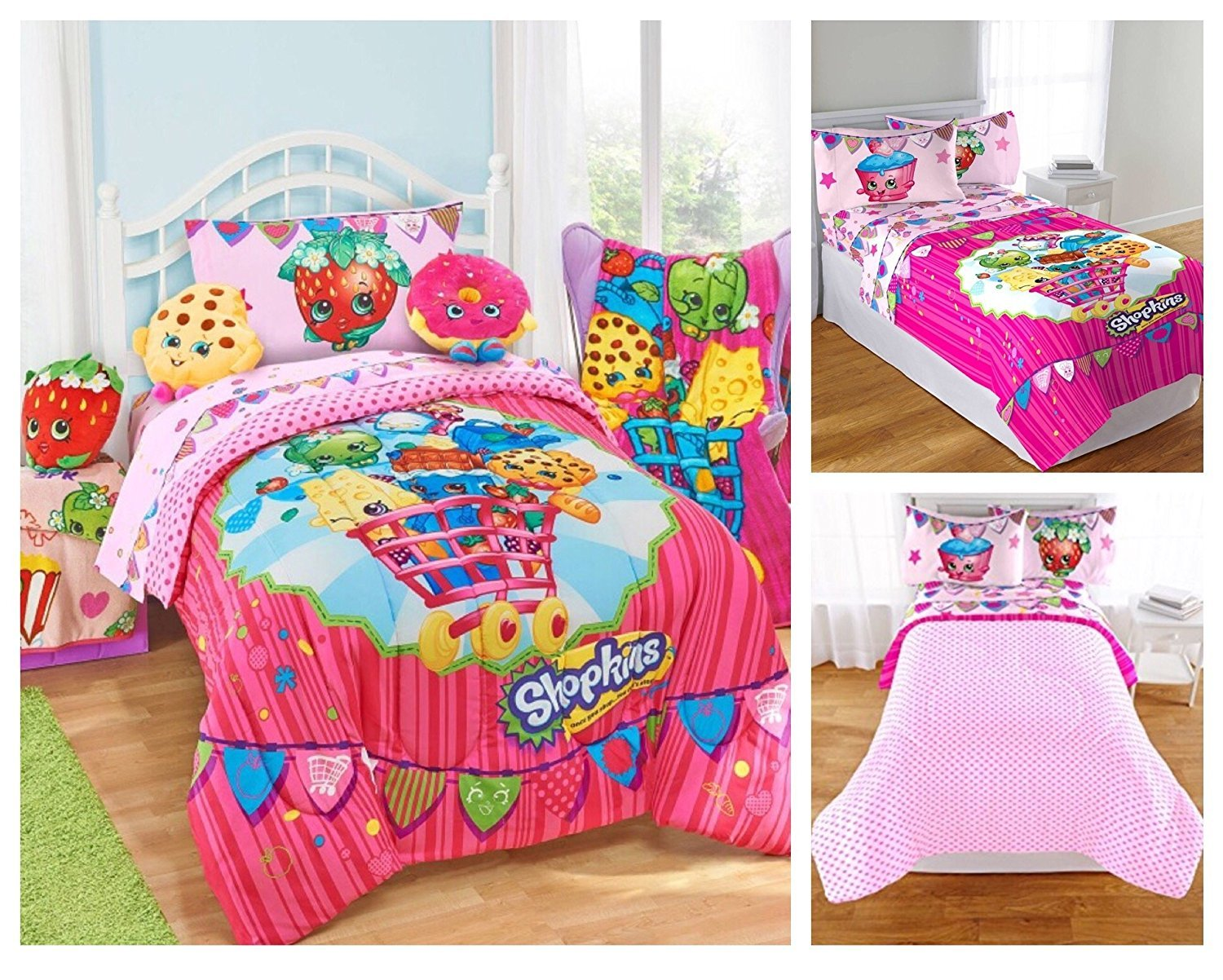 Shopkins Kids 5 Piece Bed in a Bag Full Size Bedding Set Microfiber Sheets /& Pillow Cases Reversible Comforter