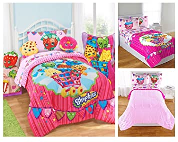 shopkins kids 5 piece bed in a bag full size bedding set reversible comforter - Kids Full Sheets