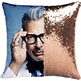 K T One Jeff Goldblum Reversible Mermaid Sequins Throw Pillow Covers Without Insert Decor Change Color Pillow Cushion Covers 16x16 Inches (Gold)
