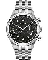 Bulova Men's Designer Chronograph Watch Stainless Steel / Leather Strap Wrist Watch