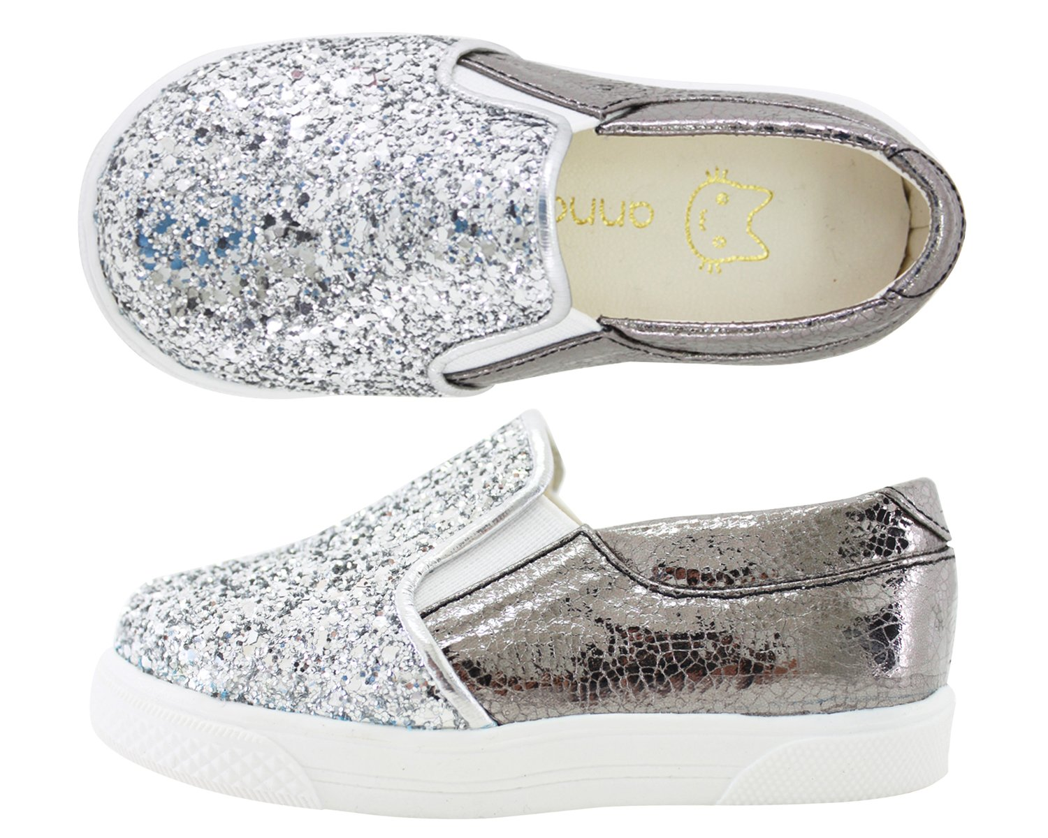 Milky Walk Boys Girls Glitter Slip On Shoes (7 M US Toddler, Silver) by Milky Walk (Image #1)