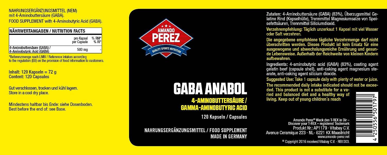 Anabolic GABA (ácido gamma-aminobutírico) - ácido gamma aminobutírico - 500 mg - 120 Cápsulas - Made in Germany: Amazon.es: Salud y cuidado personal