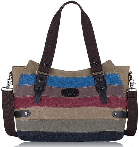8f439a6aa5b81 Coofit Multi-Color-Striped Canvas Damen Handtasche Umhängetasche Canvas  Tasche Shopper Hobo Bag