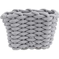 Hemobllo Cotton Rope Woven Storage Basket Diaper Caddy Nursery Nappies Organizer Baby Shower Basket for Kids Room Grey S