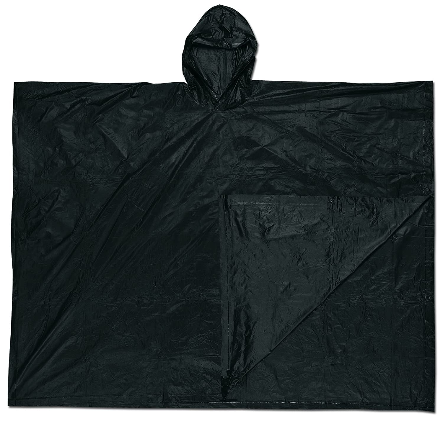 MCR Safety O47 52 by 80-Inch Schooner PVC Single Ply Disposable Poncho with Attached Hood Black