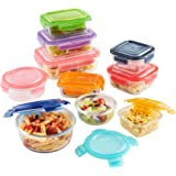 VonShef 10 Piece Glass Container Food Storage Set with Multi-Colored Lids