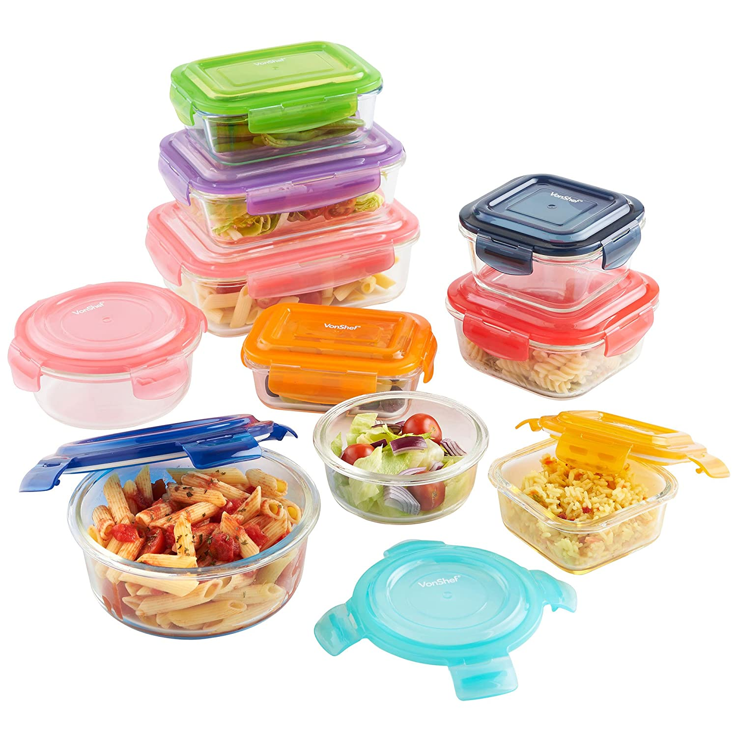 Superbe Amazon.com: VonShef 10 Piece Glass Container Food Storage Set With  Multi Colored Lids: Kitchen U0026 Dining