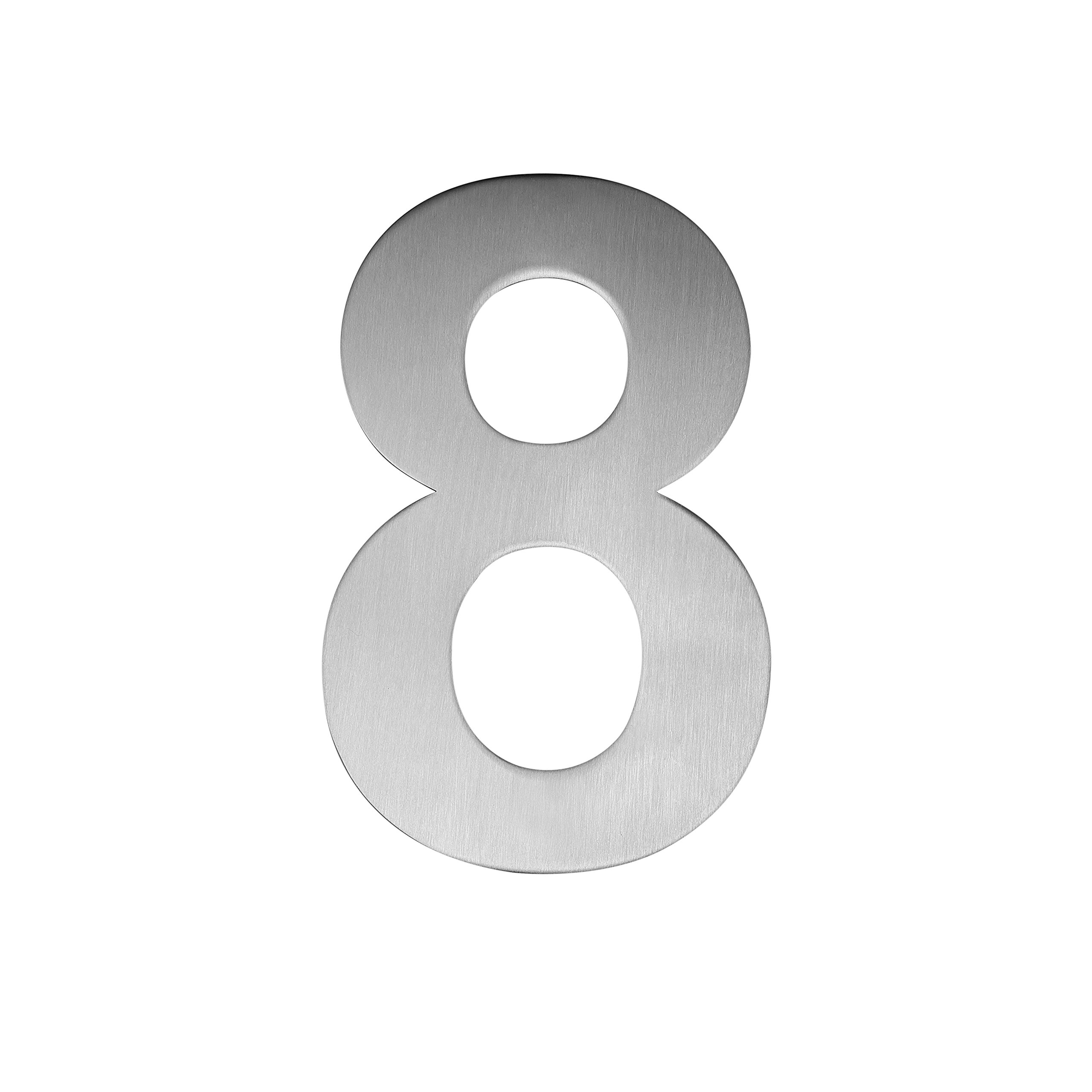 QT Modern House Number - SMALL 4 Inch - Brushed Stainless Steel (Number 8 Eight), Floating Appearance, Easy to install and made of solid 304